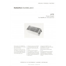 Nagra ate iv iv-s 4.2 kudelski power supply technical manual